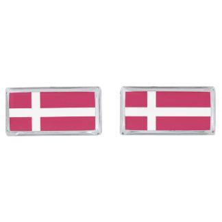 Denmark Flag Silver Finish Cuff Links