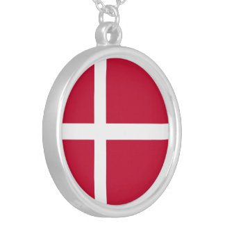 Denmark Flag Silver Plated Necklace