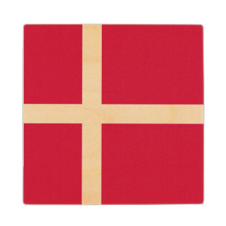 Denmark Flag Wood Coaster