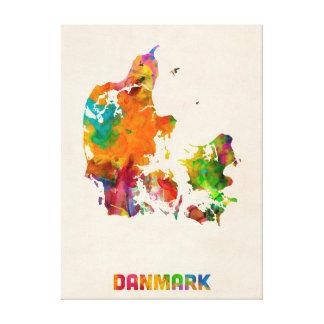 Denmark Watercolor Map Canvas Prints