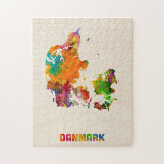 Denmark Watercolor Map Jigsaw Puzzle