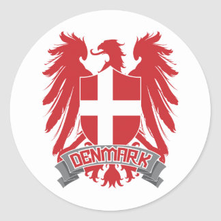Denmark Winged Classic Round Sticker