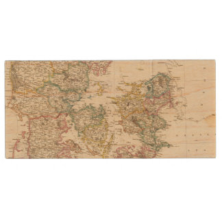 Denmark with inset map of Iceland Wood USB 2.0 Flash Drive