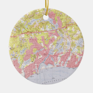 Dennis and Yarmouth Massachusetts Map (1974) Ceramic Ornament