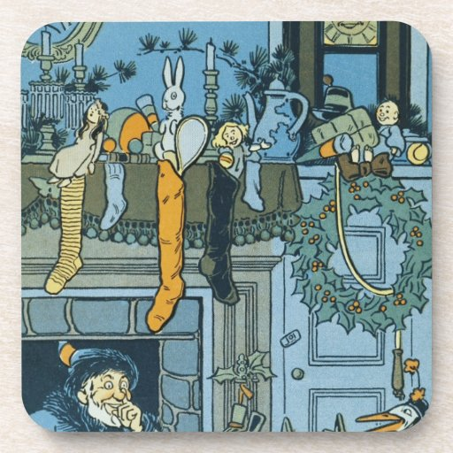 Denslow's Night Before Christmas Illustration Beverage Coasters
