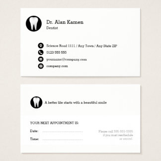 Dental Appointment Card   Classy black white