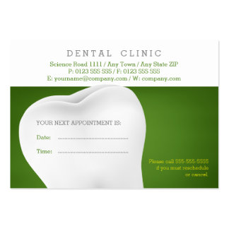 Dental Appointment Card | Green Dentist Pack Of Chubby Business Cards