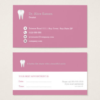 Dental Appointment Card   Pink Dentist