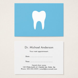 Dental appointment cards - blue, white tooth logo