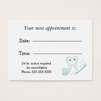 Dental Appointment Reminder Business Card