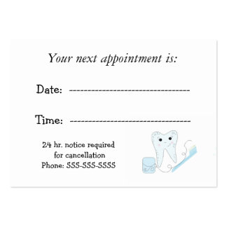 Dental Appointment Reminder Pack Of Chubby Business Cards