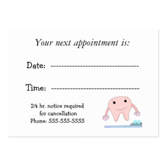 Dental Appointment with Cute Tooth Business Cards