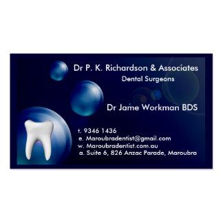 Dental Art Blue Bubble Design Card Pack Of Standard Business Cards