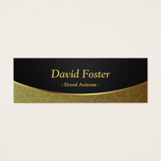 Dental Assistant - Black Gold Damask Mini Business Card