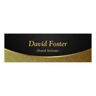 Dental Assistant - Black Gold Damask Pack Of Skinny Business Cards