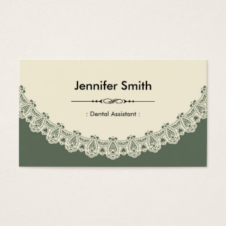 Dental Assistant - Retro Chic Lace Business Card