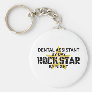 Dental Assistant Rock Star Basic Round Button Key Ring