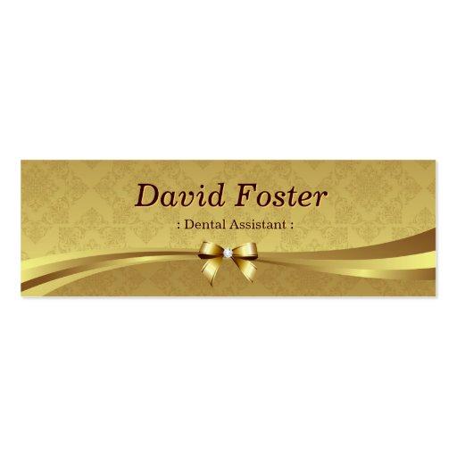 Dental Assistant - Shiny Gold Damask Business Card