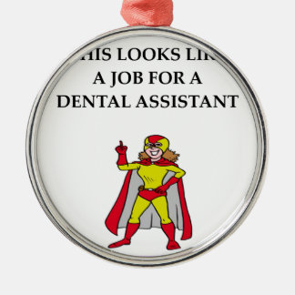 DENTAL assistant Silver-Colored Round Decoration