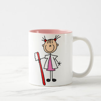 Dental Assistant With Toothbrush Two-Tone Mug