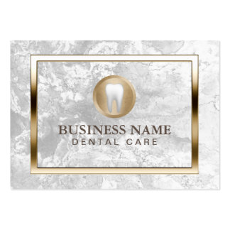 Dental Care Modern Marble Gold Border Dentist Pack Of Chubby Business Cards