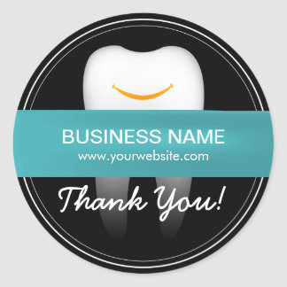 Dental Care Smiling Tooth Business Thank You Classic Round Sticker