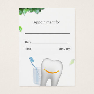 Dental Care Smiling Tooth Dentist Appointment Business Card