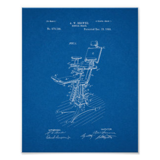Dental Chair Patent - Blueprint Poster