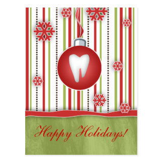 Dental Christmas Postcard Red Stripes