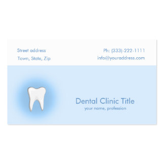 Dental Clinic Simple Blue White Tooth Card Pack Of Standard Business Cards