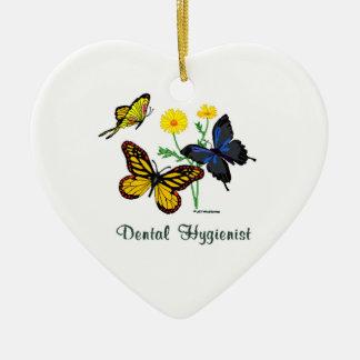 Dental Hygienist Butterflies Ceramic Heart Decoration