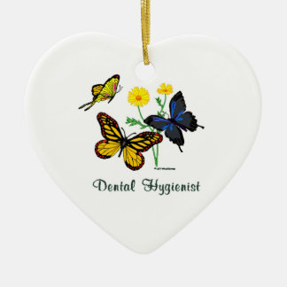 Dental Hygienist Butterflies Ceramic Ornament