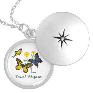 Dental Hygienist Butterflies Silver Plated Necklace