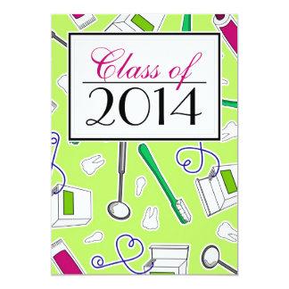 Dental Hygienist / Dental School Graduation Green 13 Cm X 18 Cm Invitation Card