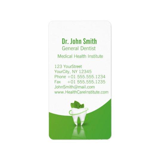 Dental Medical Mint Leaf Tooth - Address Label