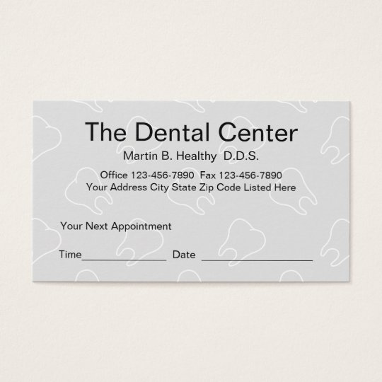 Dental Office Appointment Card
