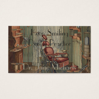 Dental Operating Room Watercolor Gouache Vintage Business Card
