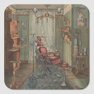 Dental Operating Room Watercolor Gouache Vintage Square Sticker