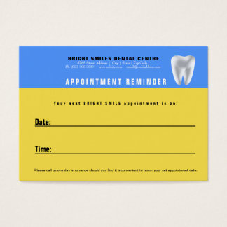 Dental Patient Appointment Reminder Card