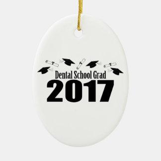 Dental School Grad 2017 Caps And Diplomas (Black) Ceramic Oval Decoration