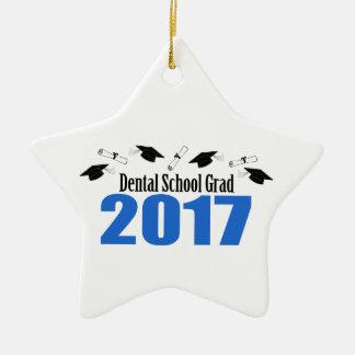 Dental School Grad 2017 Caps And Diplomas (Blue) Ceramic Star Decoration