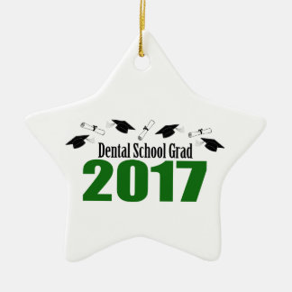 Dental School Grad 2017 Caps And Diplomas (Green) Ceramic Ornament
