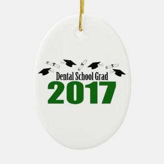 Dental School Grad 2017 Caps And Diplomas (Green) Ceramic Oval Decoration
