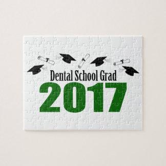 Dental School Grad 2017 Caps And Diplomas (Green) Jigsaw Puzzle