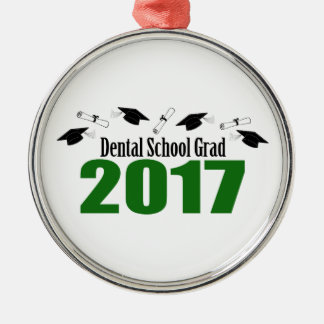 Dental School Grad 2017 Caps And Diplomas (Green) Metal Ornament