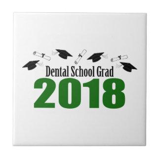 Dental School Grad 2018 Caps And Diplomas (Green) Ceramic Tile