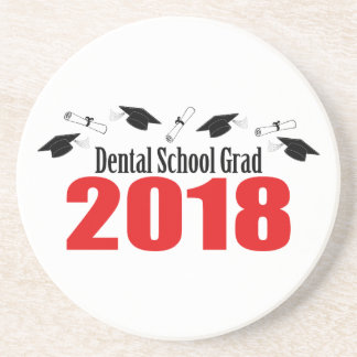 Dental School Grad 2018 Caps And Diplomas (Red) Coaster