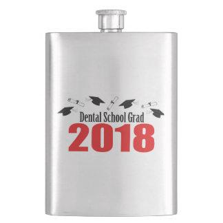 Dental School Grad 2018 Caps And Diplomas (Red) Hip Flask
