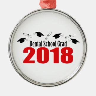 Dental School Grad 2018 Caps And Diplomas (Red) Metal Ornament