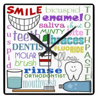 Dental Terms Subway Art Square Wallclock